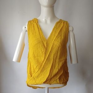 Sleeveless Mustard Color Wrap Top Size Small
